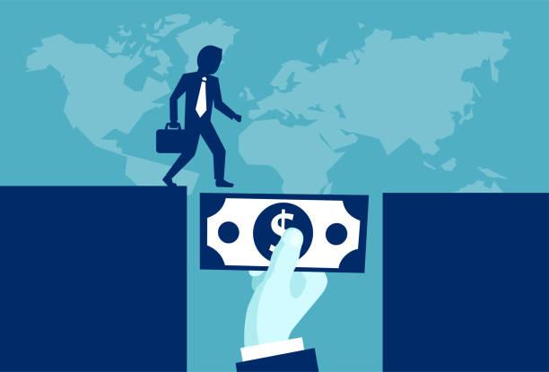 ilustrações, clipart, desenhos animados e ícones de empresário, tendo apoio de dinheiro - empréstimo