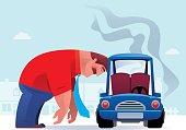 vector illustration of sad businessman heading on breakdown car