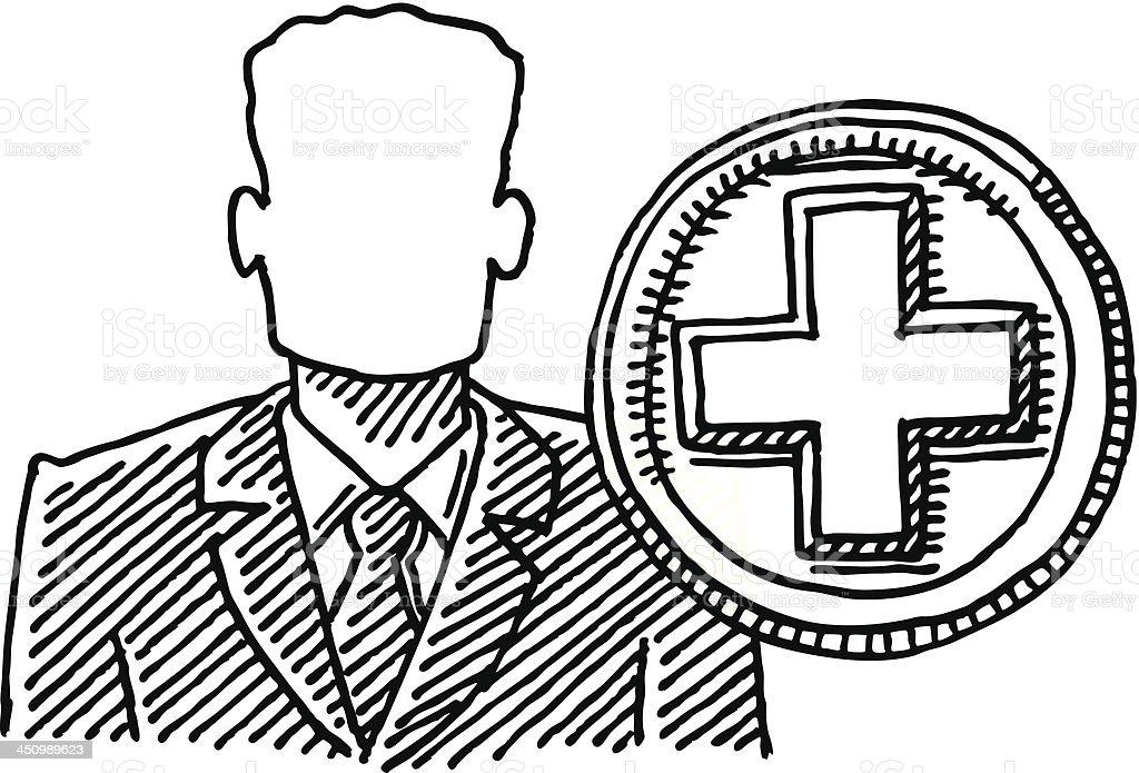Businessman Hiring Plus Symbol Drawing royalty-free stock vector art