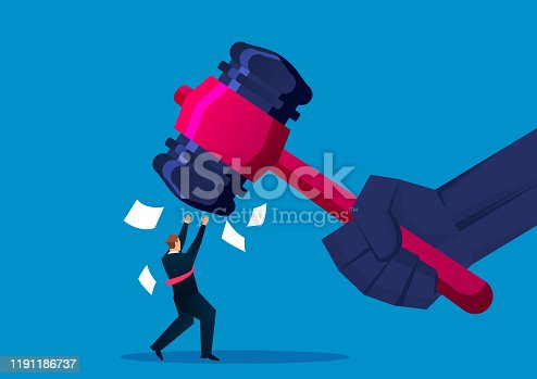 istock Businessman hit by hammer 1191186737