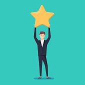 Businessman hold a big gold star. Victory, rating. Vector, illustration, flat.