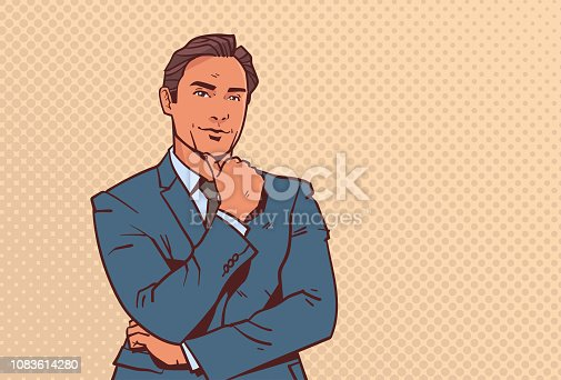 businessman hold hand finger on chin business man pondering male cartoon character portrait pop art style horizontal vector illustration