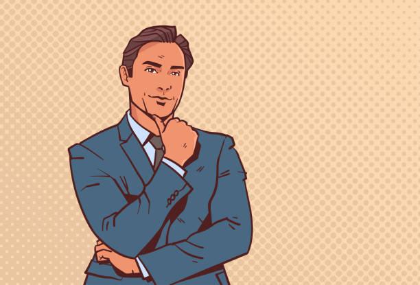 ilustraciones, imágenes clip art, dibujos animados e iconos de stock de empresario mantener dedo de la mano en barbilla hombre de negocios pensando en dibujos animados hombre retrato del arte pop estilo de carácter horizontal - moda de hombre