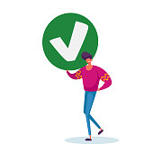 Businessman Hold Sign with Green Check Mark, Yes Symbol, Male Character Agree with Social Opinion, Acceptance, Voting Election, Politics Decision, Public Relations Concept. Cartoon Vector Illustration
