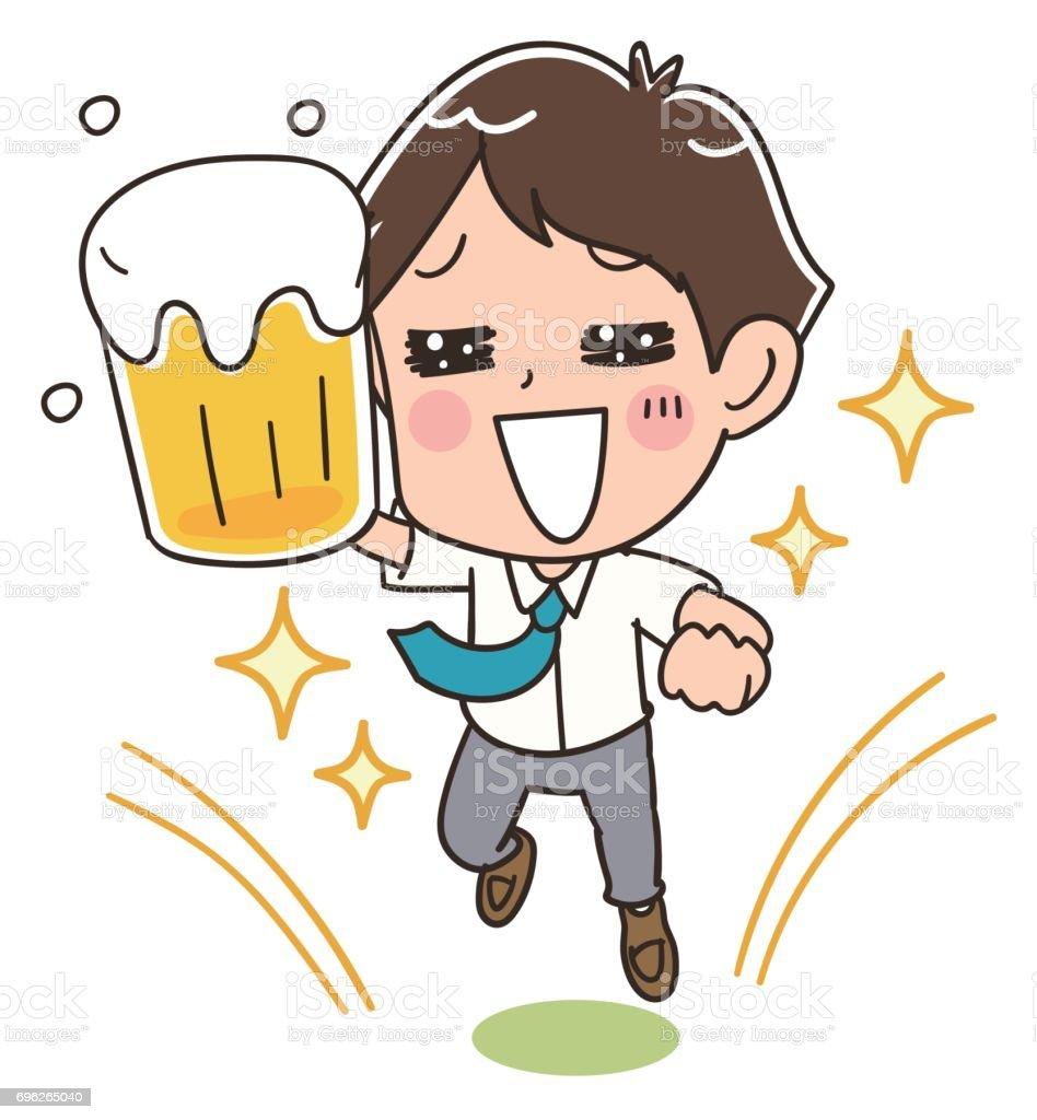 Ein Geschäftsmann hält ein Bier ist Spaß – Vektorgrafik