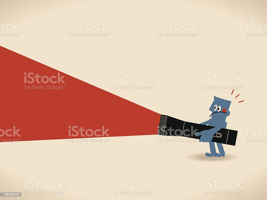 Businessman holding a big flashlight, searching somewhat, finding something vector art illustration