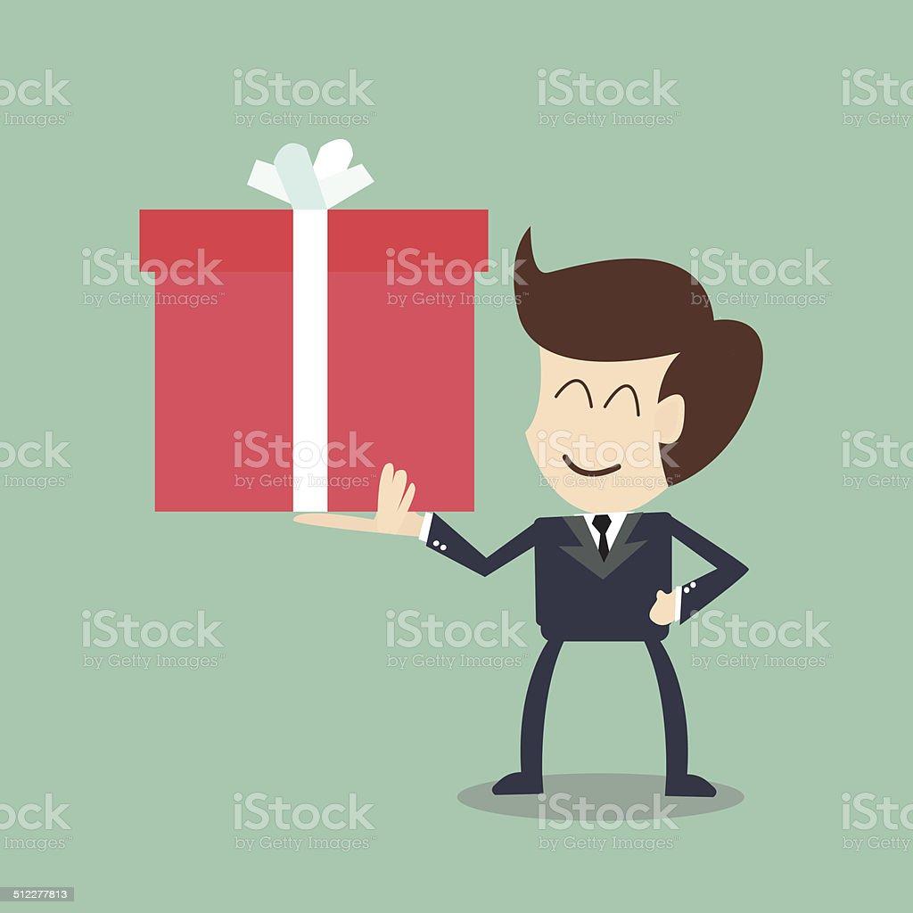 Geschäftsmann Hält Ein Großes Geschenkbox Weihnachtsgeschenk Stock ...