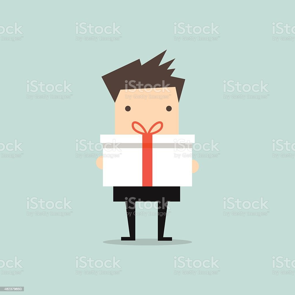 Businessman holding a big gift box vector art illustration