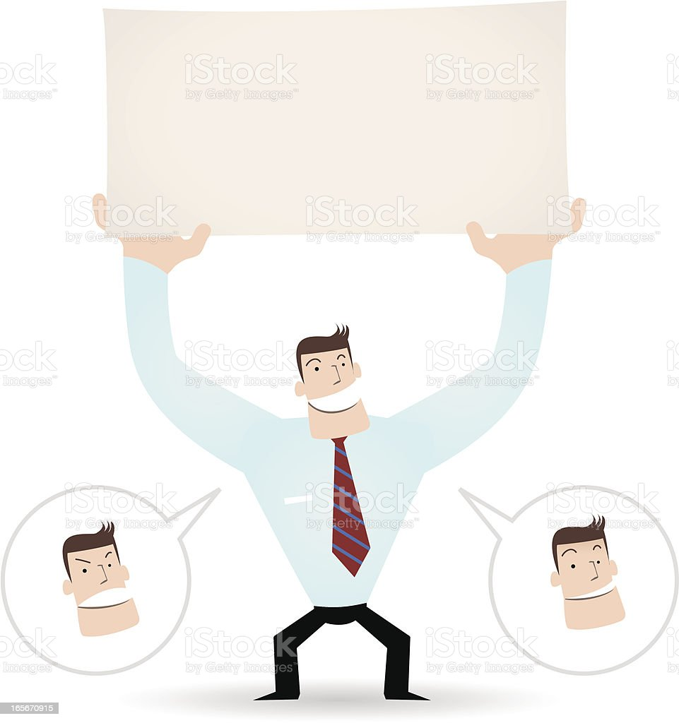 Businessman holding a blank sign for your message royalty-free stock vector art