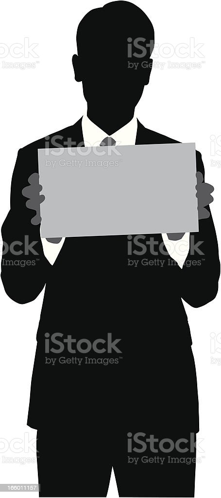 Businessman Holding a Blank Sign Silhouette royalty-free businessman holding a blank sign silhouette stock vector art & more images of adhesive note