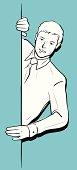 Vector illustration – Businessman holding a blank sign.