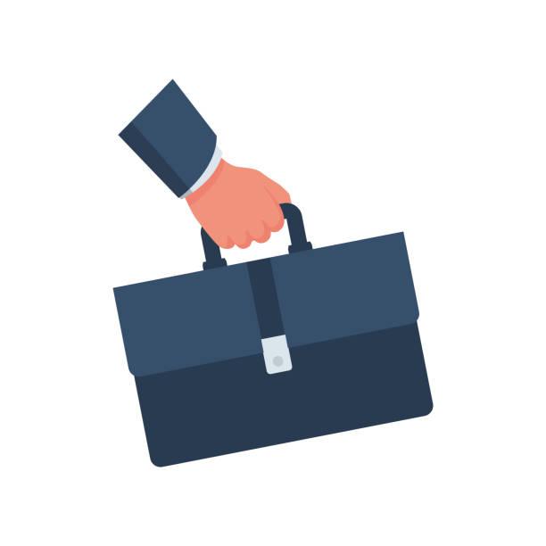 illustrazioni stock, clip art, cartoni animati e icone di tendenza di businessman holding a briefcase in hand. - borsa 24 ore