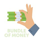 Businessman holding a bundle of money. Flat vector isolated illustration