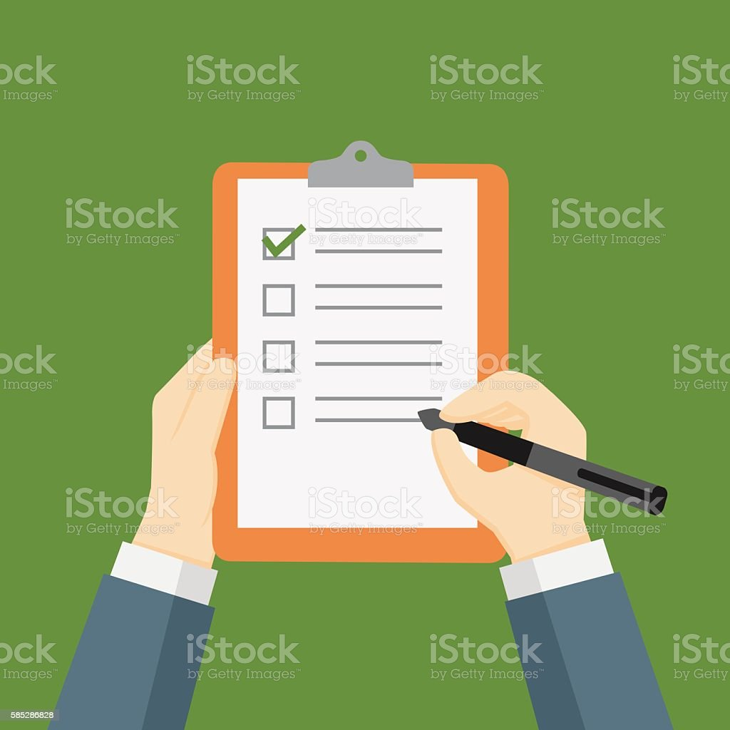 Businessman Holding A Clipboard and Filling A Checklist Form vector art illustration