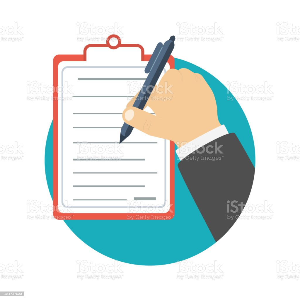Businessman holding a clipboard and writing vector art illustration