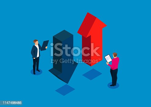 Businessman holding a clipboard studying the upward and downward arrows