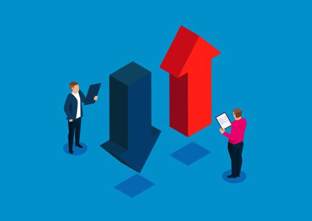 クリップボードを持っているビジネスマン上向きと下向きの矢印を研究 - 金融と経済点のイラスト素材/クリップアート素材/マンガ素材/アイコン素材