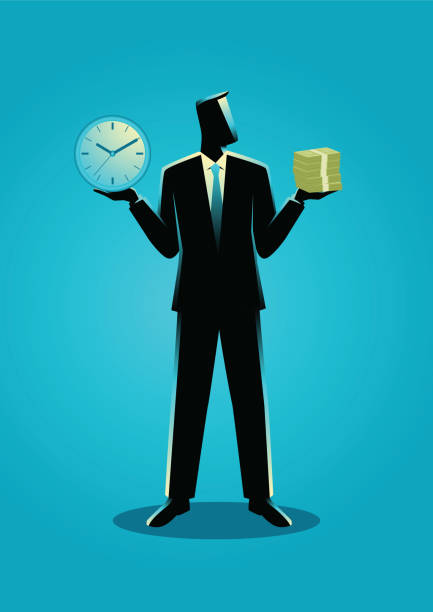 Businessman holding a clock and bank notes Business concept illustration of a businessman holding a clock in his right hand and stack of bank notes on his left hand time is money stock illustrations
