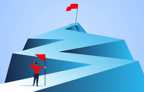 biznesmen trzymający flagę patrzącą na flagę dalej od góry strzałki - aspiracje stock illustrations