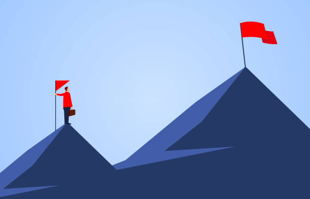 Businessman holding a flag standing on the top of the mountain, looking to another higher mountain, business goals and challenges vector art illustration