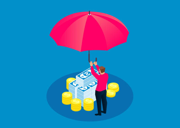 Geschäftsmann hält einen riesigen Regenschirm, um Geld zu schützen – Vektorgrafik