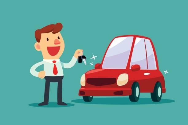 Geschäftsmann eine Taste sein neues Auto – Vektorgrafik