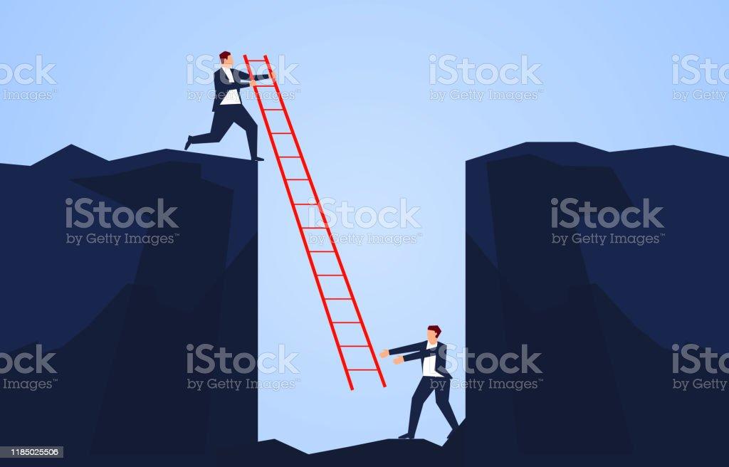 Geschäftsmann hält eine Leiter, um einen Begleiter zu retten, der in den Boden einer Klippe fällt - Lizenzfrei Angst Vektorgrafik