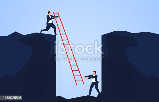 Businessman holding a ladder to rescue a companion falling into the bottom of a cliff