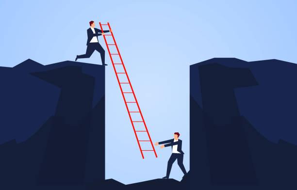 Geschäftsmann hält eine Leiter, um einen Begleiter zu retten, der in den Boden einer Klippe fällt – Vektorgrafik