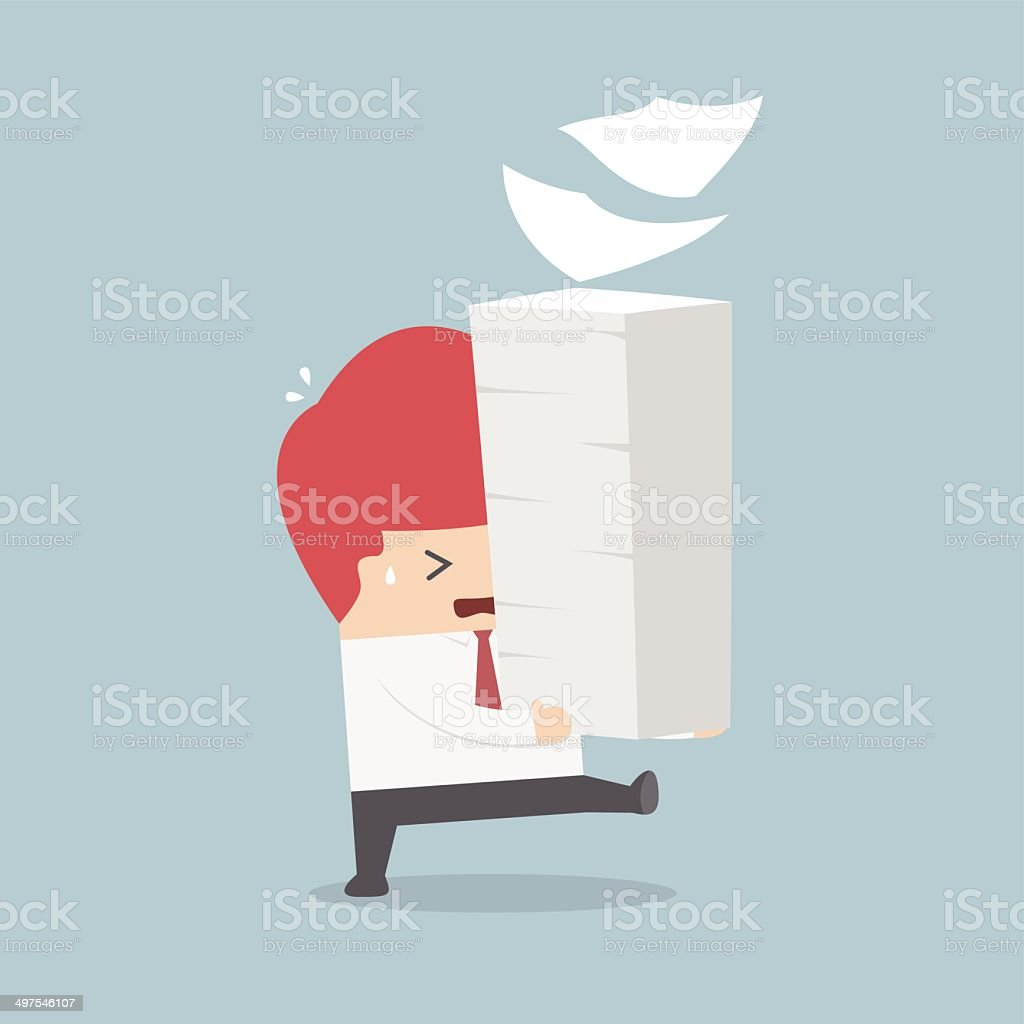 Businessman holding a lot of documents in his hands vector art illustration