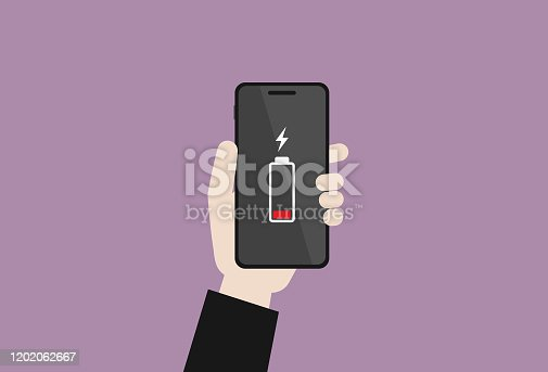 istock Businessman holding a mobile phone has a low battery 1202062667