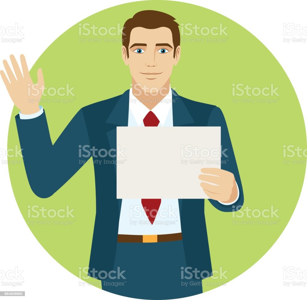 Businessman holding a paper and greeting someone with his hand businessman holding a paper and greeting someone with his hand raised up royalty free businessman m4hsunfo