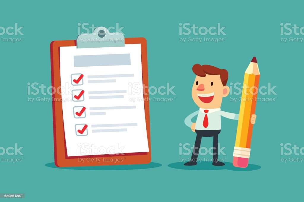 businessman holding a pencil looking at completed checklist on clipboard vector art illustration