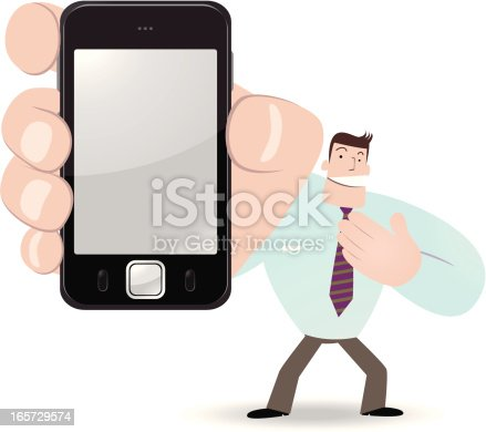 Vector illustration - Businessman holding a smartphone and showing something.