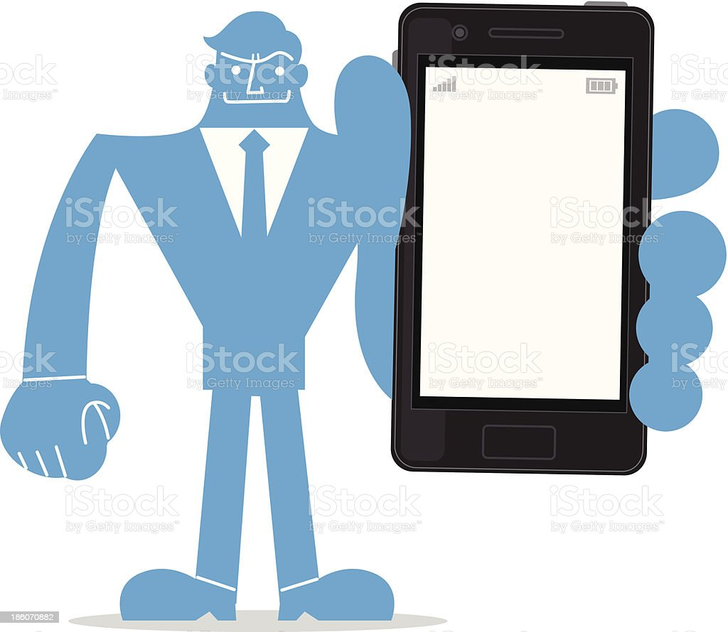 Businessman holding a smartphone royalty-free stock vector art
