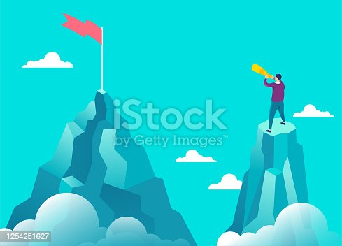 Businessman holding a telescope looking at the flag. Business solutions, marketing, creative solution and unique way concept