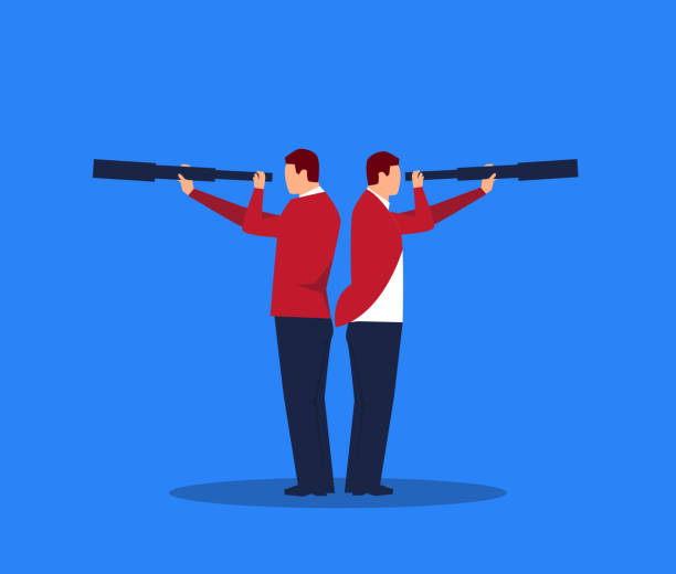 businessman holding a telescope standing back to back - отвести взгляд stock illustrations