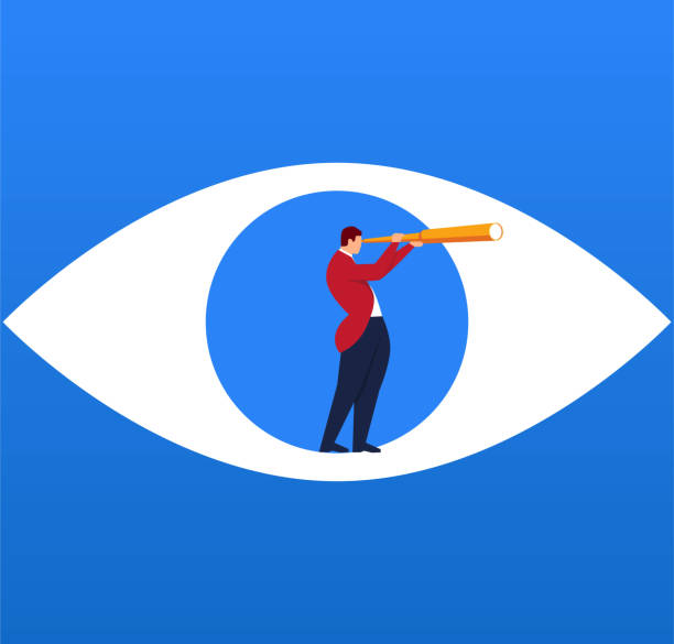 businessman holding a telescope standing inside the eyes looking into the distance - отвести взгляд stock illustrations