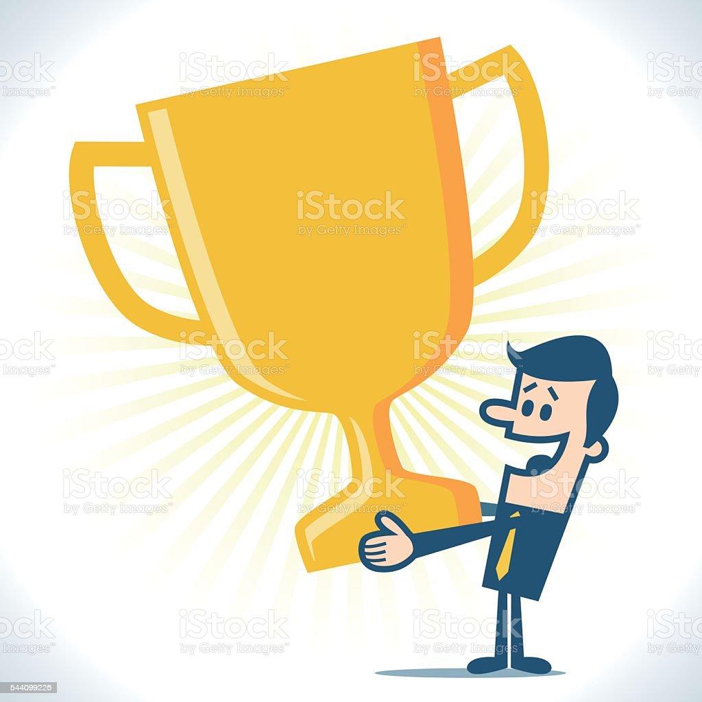 Businessman holding a trophy vector art illustration