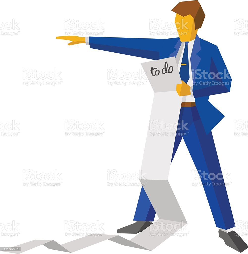Businessman holding a very long to-do list vector art illustration