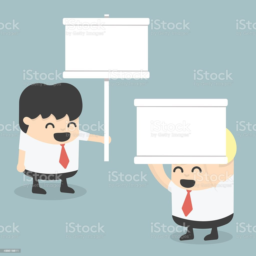 businessman holding a white sign royalty-free stock vector art