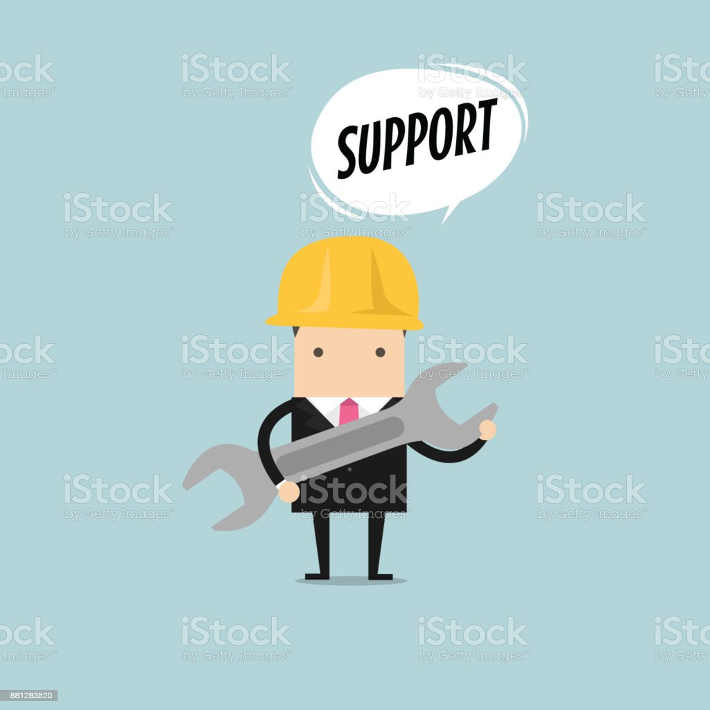 Businessman holding a wrench with balloon text support. vector vector art illustration