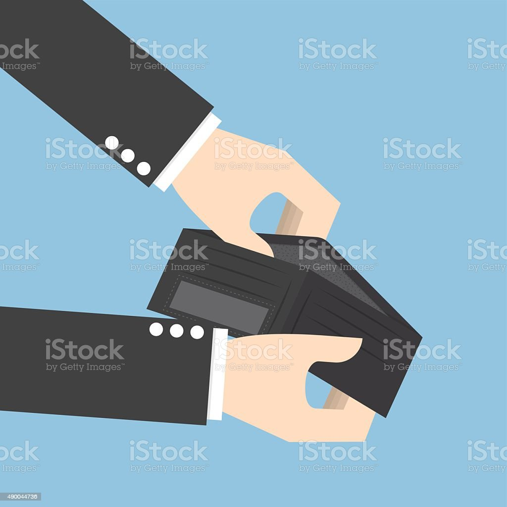 Businessman holding an empty wallet