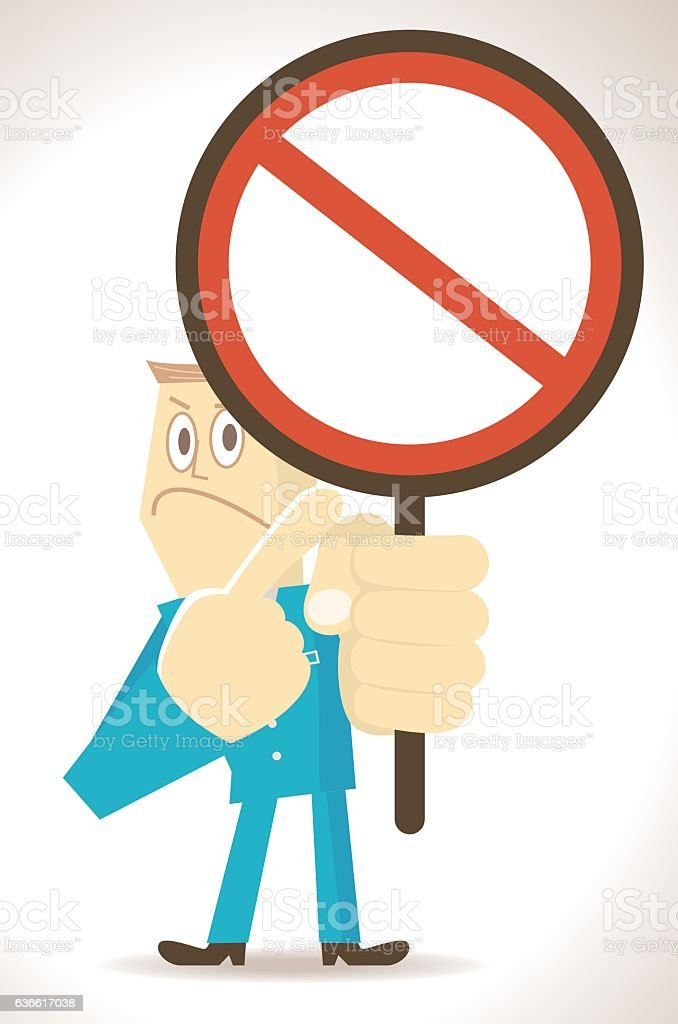 Businessman holding and pointing at an empty prohibition sign vector art illustration