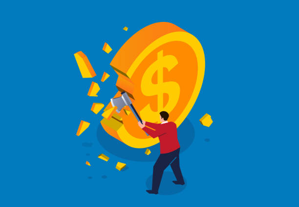 Businessman holding axe and cutting gold coins Businessman holding axe and cutting gold coins devaluation stock illustrations