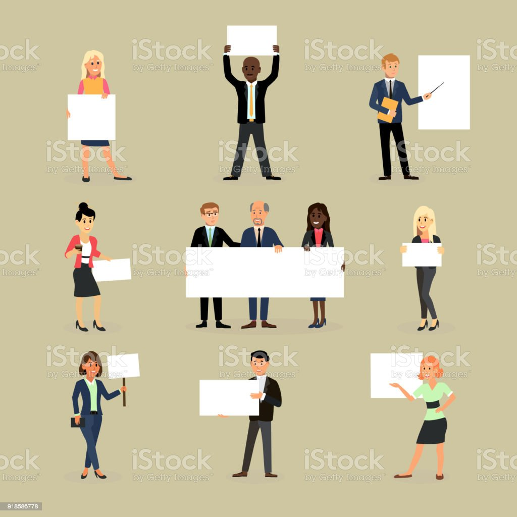 Businessman holding banner vector business woman character holds white banner or empty poster illustration set of team standing with placard isolated on background vector art illustration