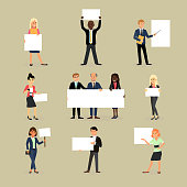 Businessman holding banner vector business woman character holds white banner or empty poster illustration set of team standing with placard isolated on background.