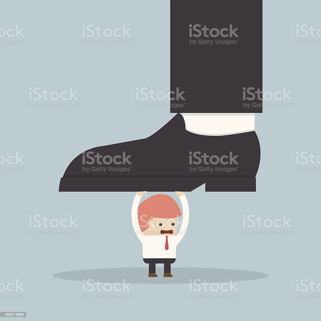 Businessman holding big businessman foot vector art illustration