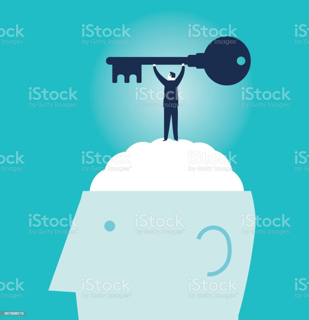 Businessman holding big Key - IllustrationBrain, Awe, Abstract, Business, Confidence Businessman holding big Key - Illustration Brain, Awe, Abstract, Business, Confidence Abstract stock vector