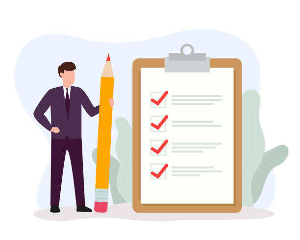 Businessman holding big pencil looking at completed checklist on clipboard. Successful completion of business tasks and goals achievements. Businessman holding big pencil looking at completed checklist on clipboard. Successful completion of business tasks and goals achievements. Vector illustration EPS 10. checklist stock illustrations